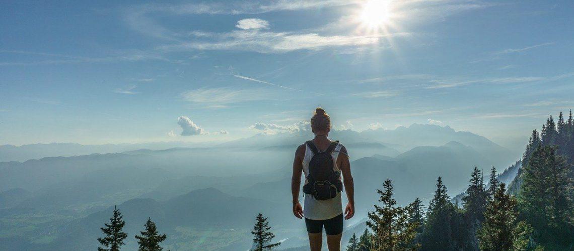 hiker, standing, woman